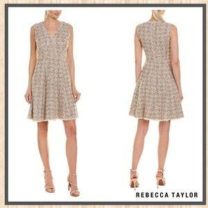 Rebecca Taylor Sparkle Tweed A-line Cream Dress